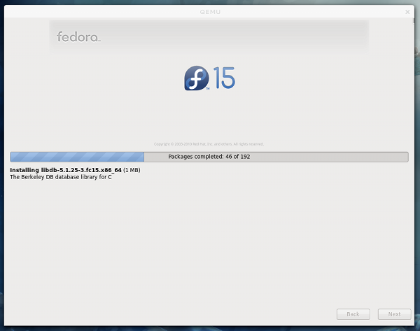 Install Progress Screen in Fedora 15