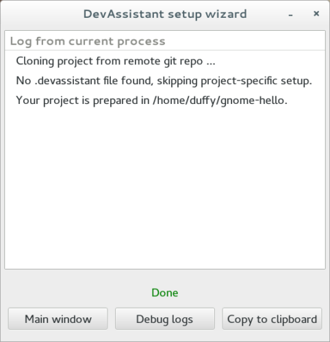 Custom Project completion dialog.