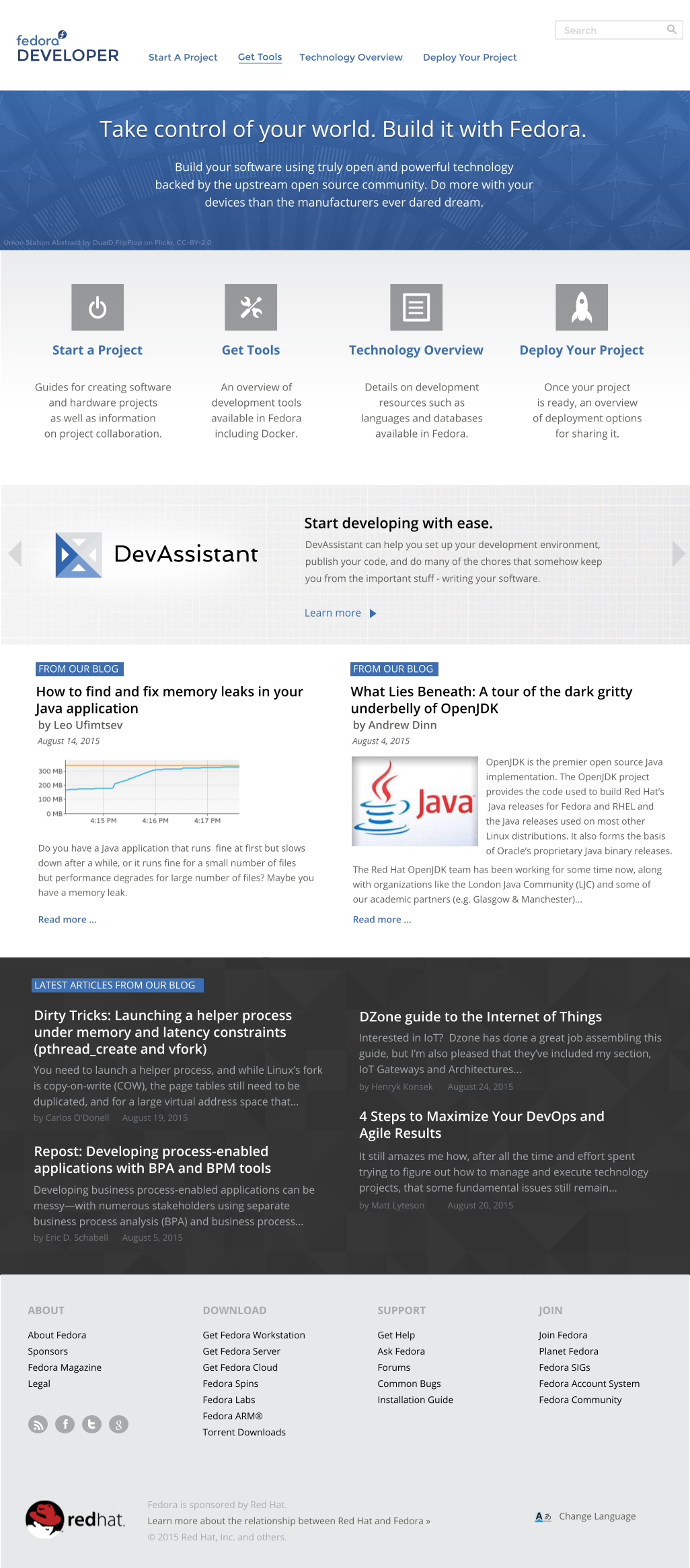Mockup for the front page of developer.fedoraproject.org. Click on image to view mockup source and other mockups in git.