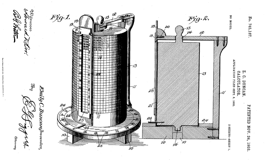 Diagram etchings from 1903 Duncan calculator patent. Center is a cylindrical object covered in a grid with numbers and various mechanical bits