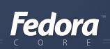 Original Fedora logo, in a bold italic Myriad font